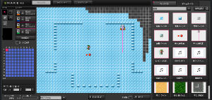 「KEROCKETS」ケロウェア/スネークの画面。アイデア次第で、パズルやアドベンチャー、アクションRPGなど様々なタイプのゲーム制作が可能。