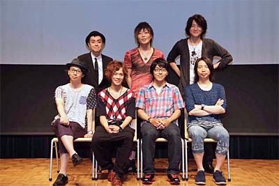 前列左より 木村良平さん、小野賢章さん、小野友樹さん、諏訪部順一さん、後列左より ヒャダインさん、GRANRODEO KISHOW さん、GRANRODEO e-ZUKA さん