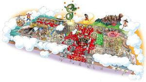 『J-WORLD TOKYO』鳥瞰パース (C)バードスタジオ/集英社・東映アニメーション (C)尾田栄一郎/集英社・フジテレビ・東映アニメーション (C)岸本斉史 スコット/集英社・テレビ東京・ぴえろ