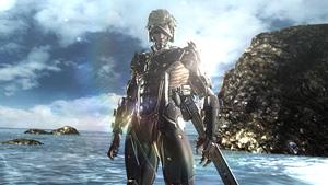 水しぶきを上げて海岸に到着する雷電『メタルギア ライジング リベンジェンス』場面写真 (C)Konami Digital Entertainment  Developed by PlatinumGames Inc.