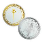 ミラージュ騎士団ロゴ皿(ゴールド)、L.E.D.ミラージュ皿(シルバー) 「ファイブスター物語 × ナタリーストア」 (C)EDIT